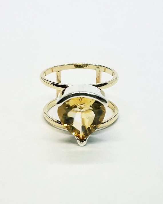 Pear Shape Citrine Ring Side View