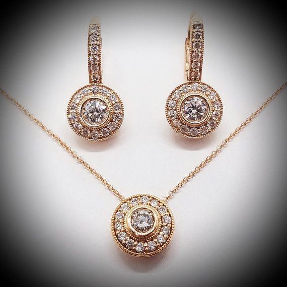 Rose Gold Diamond Earrings & Pendant Set