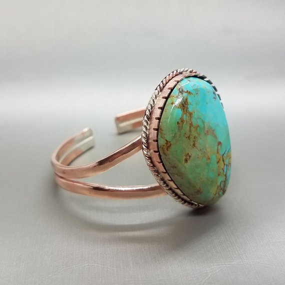 Turquoise & Copper Bracelet Side View