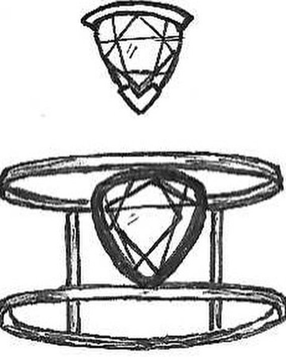 Pear Shape Citrine Ring Original Sketch