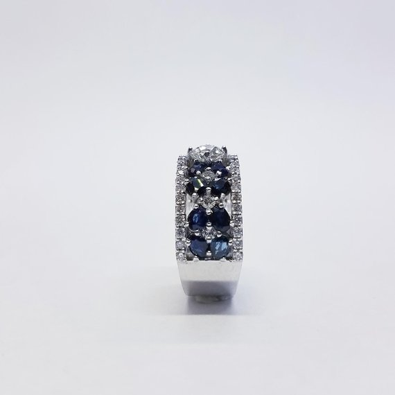 Sapphire & Diamond Band Side View